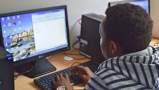 Student working in Microsoft Word